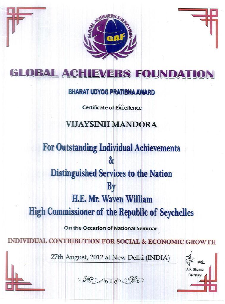 Bharat Udyog Pratibha Award - Certificate