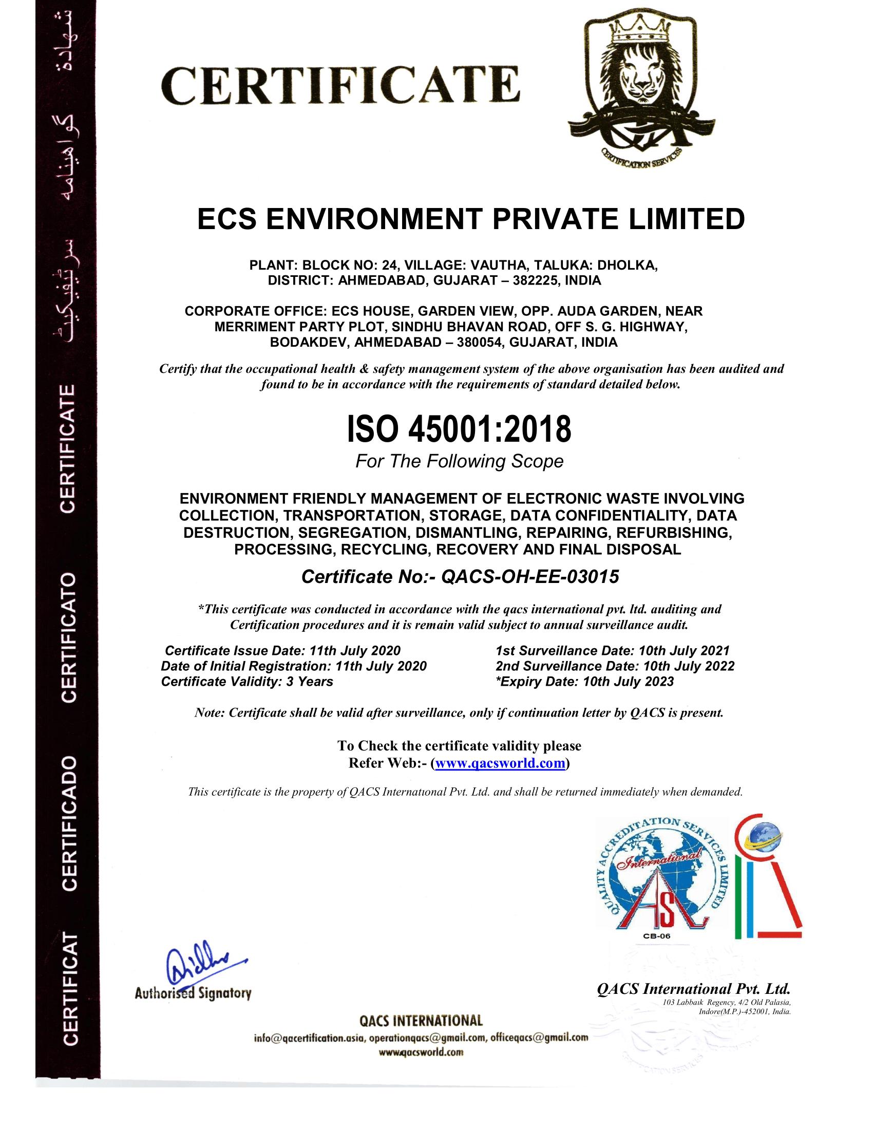ECS ENVIRONMENT 45001 QASL-1