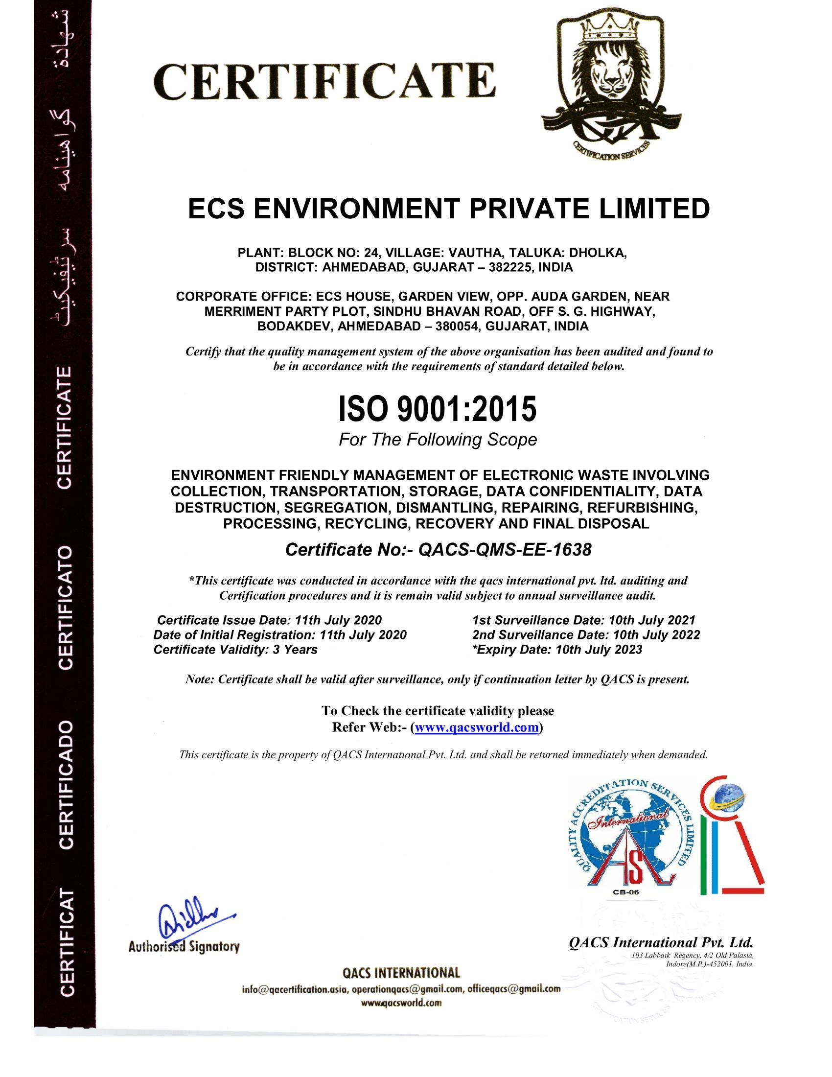 ECS ENVIRONMENT 9001QASL-1